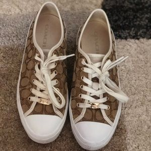 Brown and White Coach Canvas Shoes/Sneakers